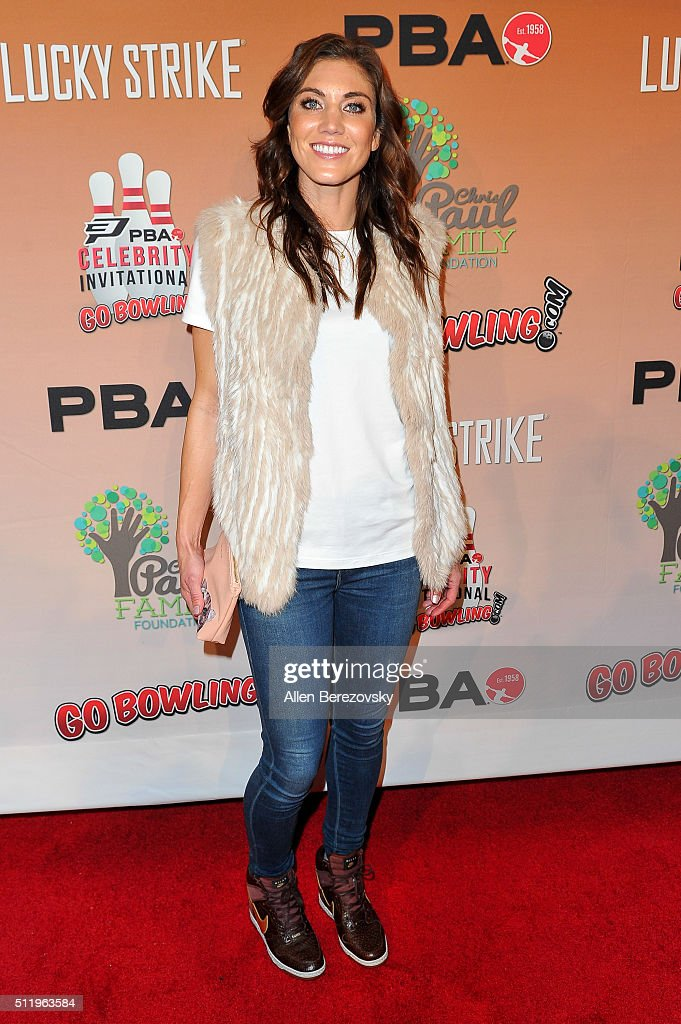Soccer goalkeeper Hope Solo attends the CP3 PBA Celebrity Invitational Charity Bowling Tournament presented by GoBowling.com at Lucky Strike Lanes at L.A. Live on February 23, 2016 in Los Angeles, California.