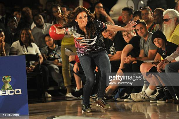 Soccer goalkeeper Hope Solo participates in the CP3 PBA Celebrity Invitational Charity Bowling Tournament presented by GoBowlingcom at Lucky Strike...