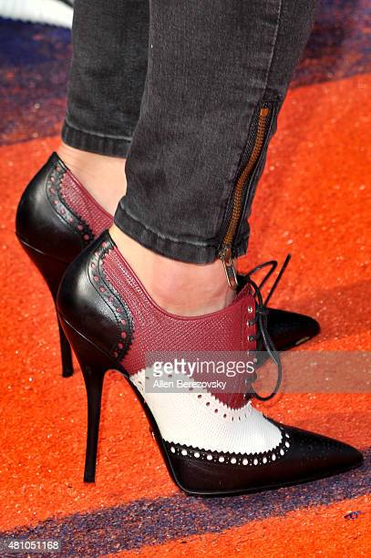 Soccer goalkeeper Hope Solo shoe detail attends the Nickelodeon Kids' Choice Sports Awards 2015 at UCLA's Pauley Pavilion on July 16 2015 in Westwood...