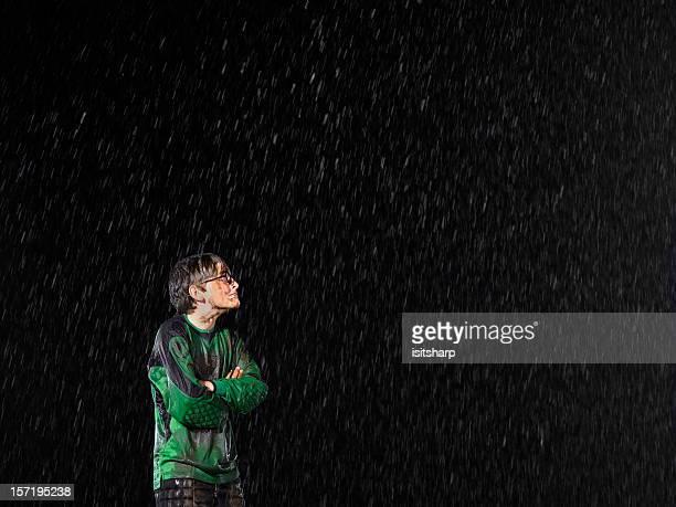 Soccer goalkeeper in the rain