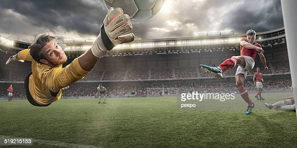 soccer goalkeeper - kicking stock pictures, royalty-free photos & images