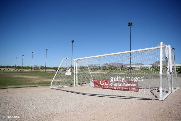 Soccer goals are closed off for public use at the Scottsdale Sports Complex on April 02, 2020 in Scottsdale, Arizona. Arizona Gov. Doug Ducey issued...