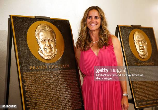 Soccer icon Brandi Chastain stands near her honorary plaque during the San Francisco Bay Area Sports Hall of Fame induction at the Westin St Francis...