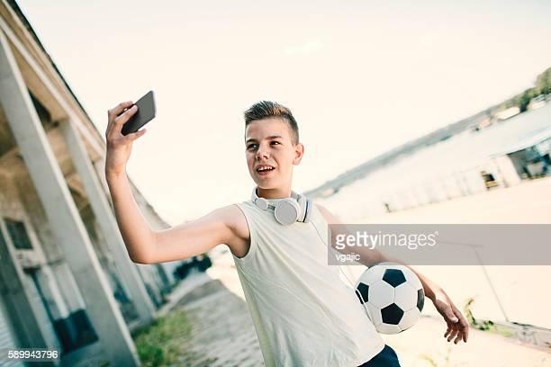 Soccer Kid Making Selfie.
