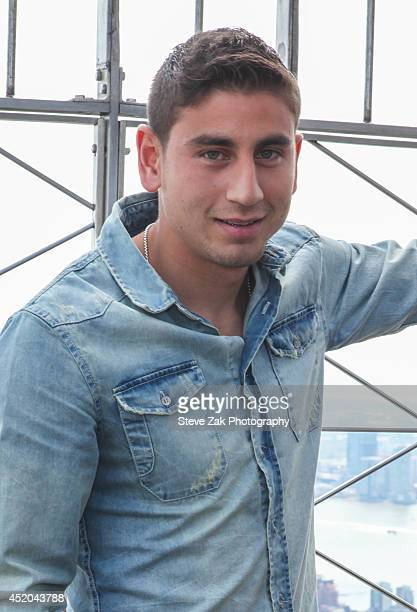 Soccer layer Alejandro Bedoya visits The Empire State Building on July 11 2014 in New York City