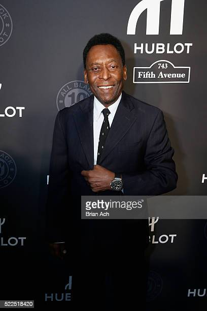 Soccer ledgend Pele attends Hublot's celebration of it's grand opening of Hublot Fifth Avenue and the 10 year anniversary of it's All Black...