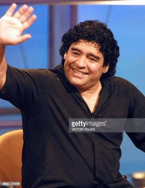 Soccer legend Diego Armando Maradona attends the television program which will feature the World Cup in Santiago Chile 23 May 2002 El astro del...