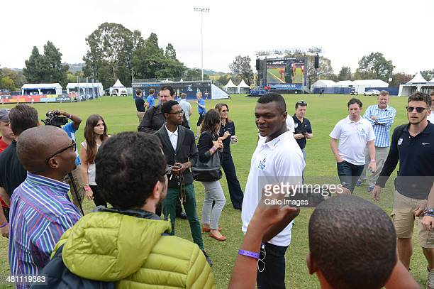 Soccer Legend Marcel Desailly with fans during the Barclays Premier League Live event on March 28 in Johannesburg, South Africa.