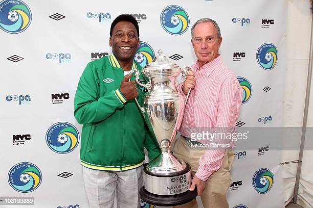 Soccer Legend Pele and New York City Mayor Michael Bloomberg announces the return of The New York Cosmos at Flushing Meadows Corona Park on August 1...