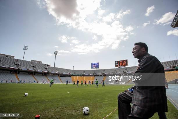 Soccer Legend Pele Visits Olympic Stadium in Barcelona on September 2 2017 in Barcelona Spain