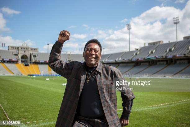 Soccer Legend Pele Visits Olympic Stadium in Barcelona on September 2 2017 in Barcelona Spain