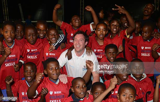 Soccer Legend Robbie Fowler and soccer youth during the Barclays Premier League Live event on March 29 in Johannesburg, South Africa.