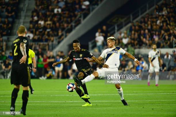 Los Angeles Galaxy Favio Alvarez in action vs Los Angeles FC MarkAnthony Kaye at Banc of California Stadium Los Angeles CA CREDIT Kohjiro Kinno