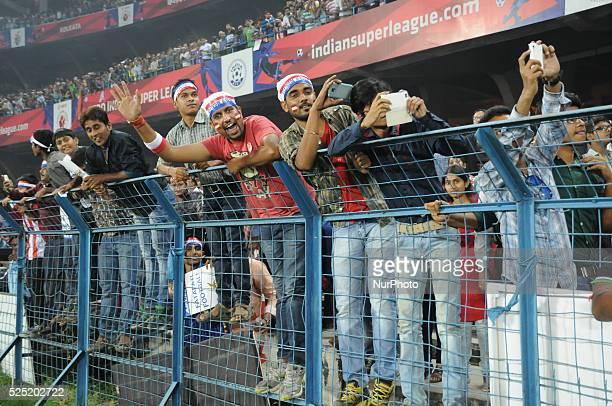 Soccer lovers at the Indian Super League Match 31 Atl��tico de Kolkata vs Chennaiyin FC in Salt Lake Stadium on November 142014 in KolkataIndia