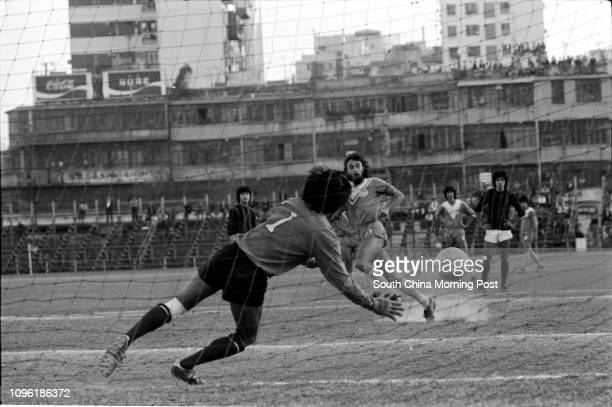 A soccer match between Seiko and Rangers at the Police Ground 21DEC77