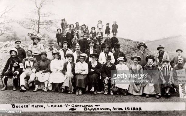 A soccer match between the Gentlemen and the Ladies in costume at Blaenavon Wales on 1st April April Fool's Day 1909