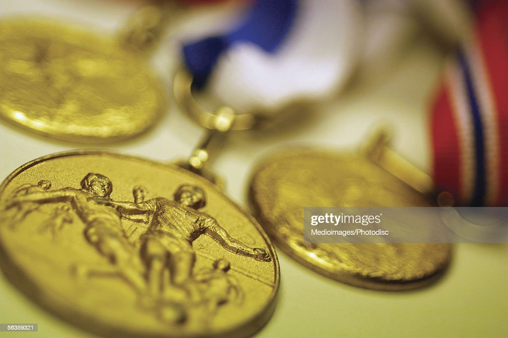 Soccer medals, close-up : Stock Photo