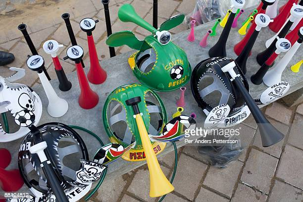 Soccer memorabilia is displayed outside the stadium before a game between Orlando Pirates and SuperSport United on May 9 in Johannesburg South Africa...