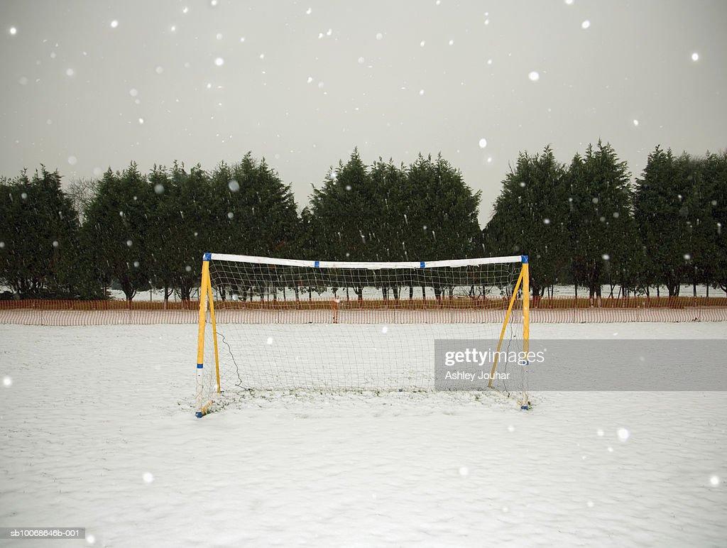 Soccer net in winter : Stock Photo