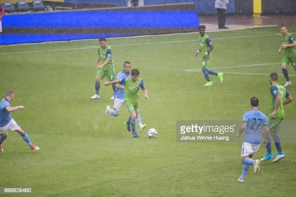 New York City FC Yangel Herrera in action vs Seattle Sounders Nicolas Lodeiro at Yankee Stadium Bronx NY CREDIT Jiahua Winnie Huang
