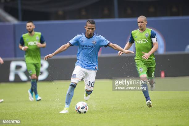 New York City FC Yangel Herrera in action vs Seattle Sounders FC at Yankee Stadium Bronx NY CREDIT Jiahua Winnie Huang