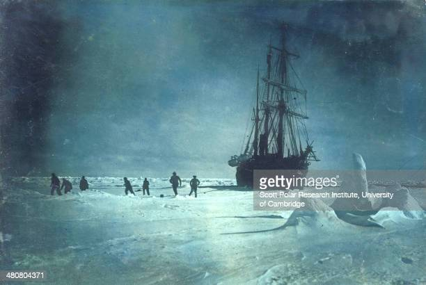 Soccer on the floe whilst waiting for the ice to break up around the 'Endurance' during the Imperial TransAntarctic Expedition 191417 led by Ernest...