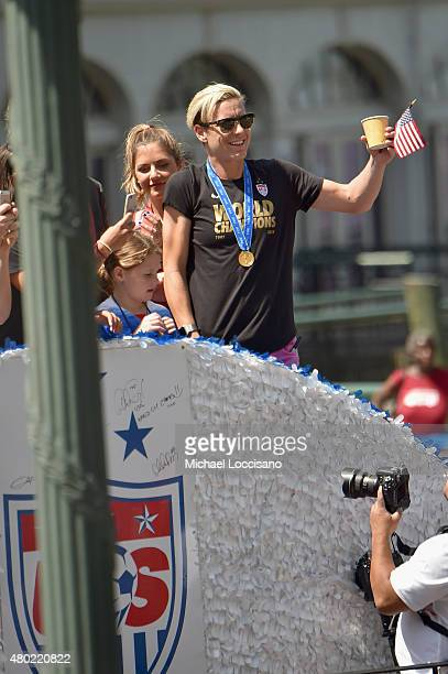 Soccer player Abby Wambach in the New York City Ticker Tape Parade for World Cup Champions US Women's Soccer National Team on July 10 2015 in New...