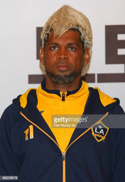 Soccer player Abel Xavier attends a press conference at Lotte Hotel on February 27 2008 in Seoul South KoreaBeckham and the LA Galaxy are in Korea...