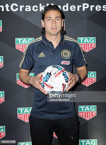 MLS soccer player Alejandro Bedoya attends MLS Media Week Day 2 at Manhattan Beach Marriott on January 18 2017 in Manhattan Beach California