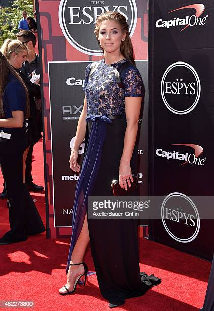 Soccer player Alex Morgan arrives at The 2015 ESPYS at Microsoft Theater on July 15 2015 in Los Angeles California