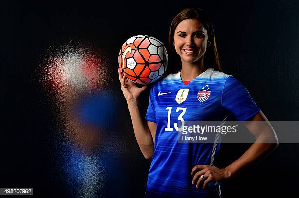 Soccer player Alex Morgan poses for a portrait at the USOC Rio Olympics Shoot at Quixote Studios on November 20 2015 in Los Angeles California