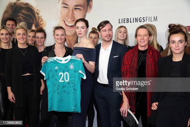 Soccer player Alexandra Popp Freya Mavor David Kross Martina VossTecklenburg Coach of the German national female football team during the premiere of...
