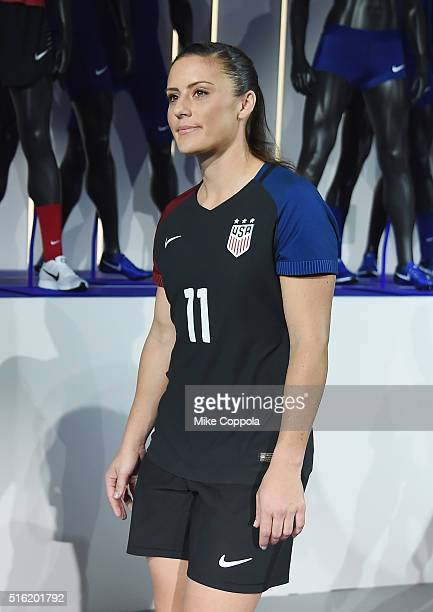 S Soccer player Ali Krieger shows off the 2016 Olympics Uniforms For USA And International Federations Debut at Skylight at Moynihan Station on March...