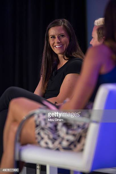 S Soccer player Ali Krieger while being interviewed during the espnW Summit 2015 at St Regis Monarch Resort on October 14 2015 in Dana Point...