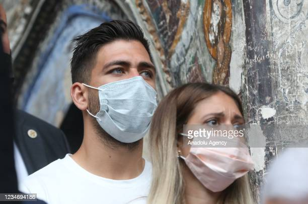 Soccer player Anastasios Bakasetas of Trabzonspor attends the mass held for the Assumption of Mary for the eighth time since resuming religious...
