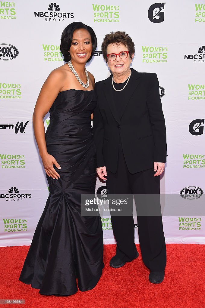Soccer player Angela Hucles (L) and former Tennis player Billie Jean King attend the 36th Annual Salute to Women In Sports at Cipriani Wall Street on October 20, 2015 in New York City.