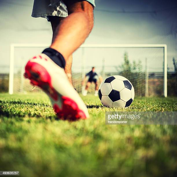 soccer player at the penalty - penalty stock pictures, royalty-free photos & images