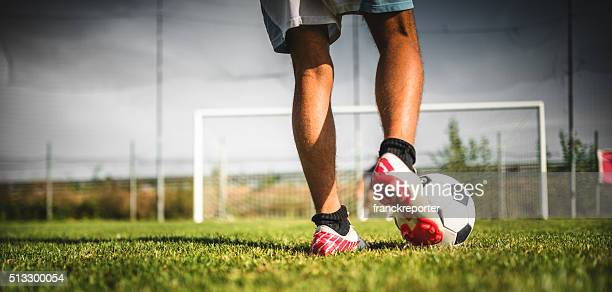 soccer player at the penalty - cleats stock pictures, royalty-free photos & images