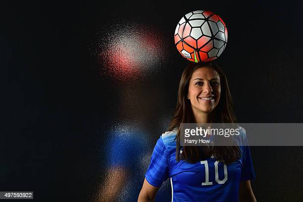 Soccer player Carli Lloyd poses for a portrait at the USOC Rio Olympics Shoot at Quixote Studios on November 17 2015 in Los Angeles California