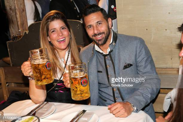 Soccer Player Claudio Pizarro and his wife Karla Salcedo during the Oktoberfest 2019 at Kaeferschaenke beer tent / Theresienwiese on September 29...