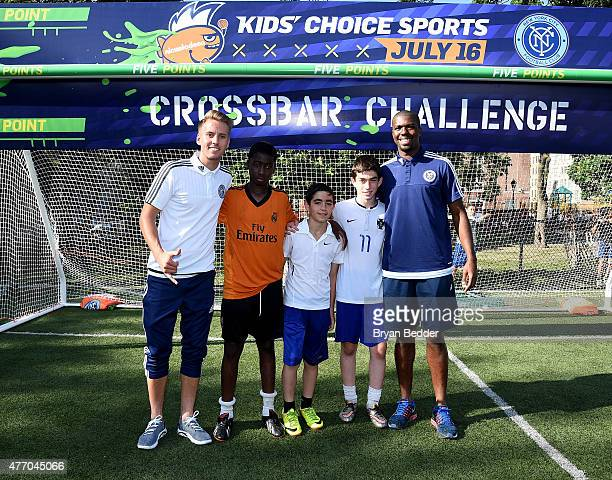 Soccer player Connor Brandt Ommar Fofana Roee Maor Zeedan Sarj and soccer player Kwame WatsonSiriboe attend Nickelodeon New York City FC Host Tryouts...