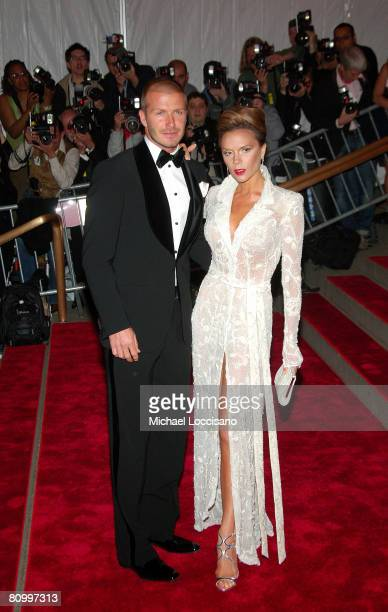 Soccer player David Beckham and singer Victoria Beckham attend the Metropolitan Museum of Art Costume Institute Gala Superheroes Fashion And Fantasy...