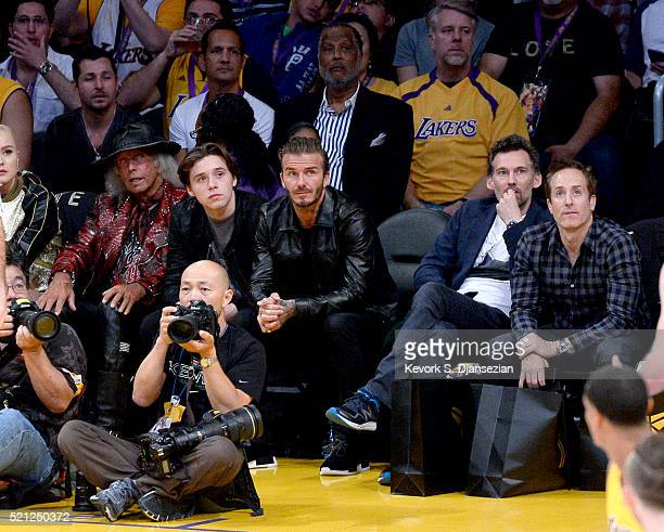 Soccer player David Beckham attends Kobe Bryant's final game between the Utah Jazz and the Los Angeles Lakers at Staples Center on April 13 2016 in...