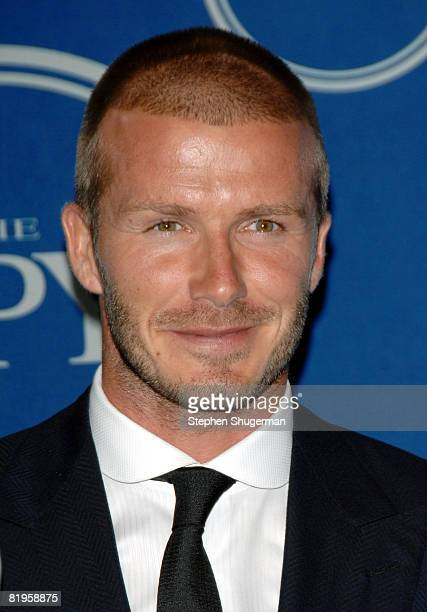 Soccer player David Beckham poses with his ESPY in the press room at the 2008 ESPY Awards held at NOKIA Theatre L.A. LIVE on July 16, 2008 in Los...