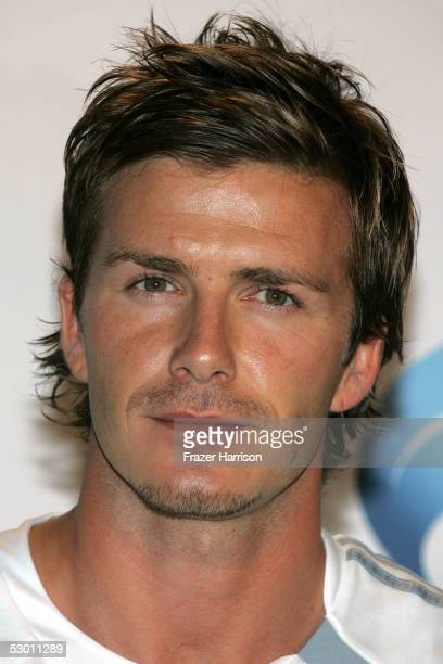 Soccer player David Beckham speaks at the David Beckham Press Conference at the Home Depot Center on June 2 2005 in Carson California Beckham is...