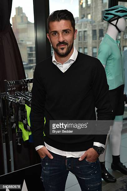 Soccer player David Villa of NYC Football Club for MISSION Athlete attends the 37.5/Cocona Brand showcase event at Gansevoort Park Avenue on June 16,...