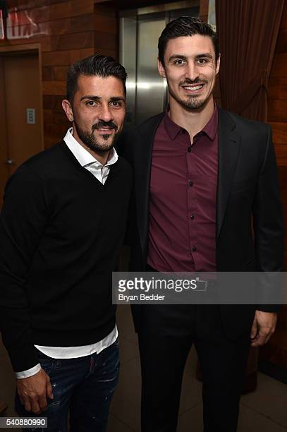 Soccer player David Villa of NYC Football Club for MISSION Athlete and Hockey player Chris Krieder of the NY Rangers for Bauer Hockey attend the...