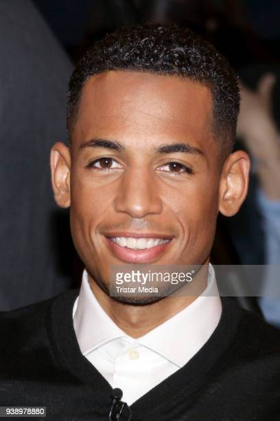 Soccer player Dennis Aogo during the 'Markus Lanz' TV show on March 27 2018 in Hamburg Germany