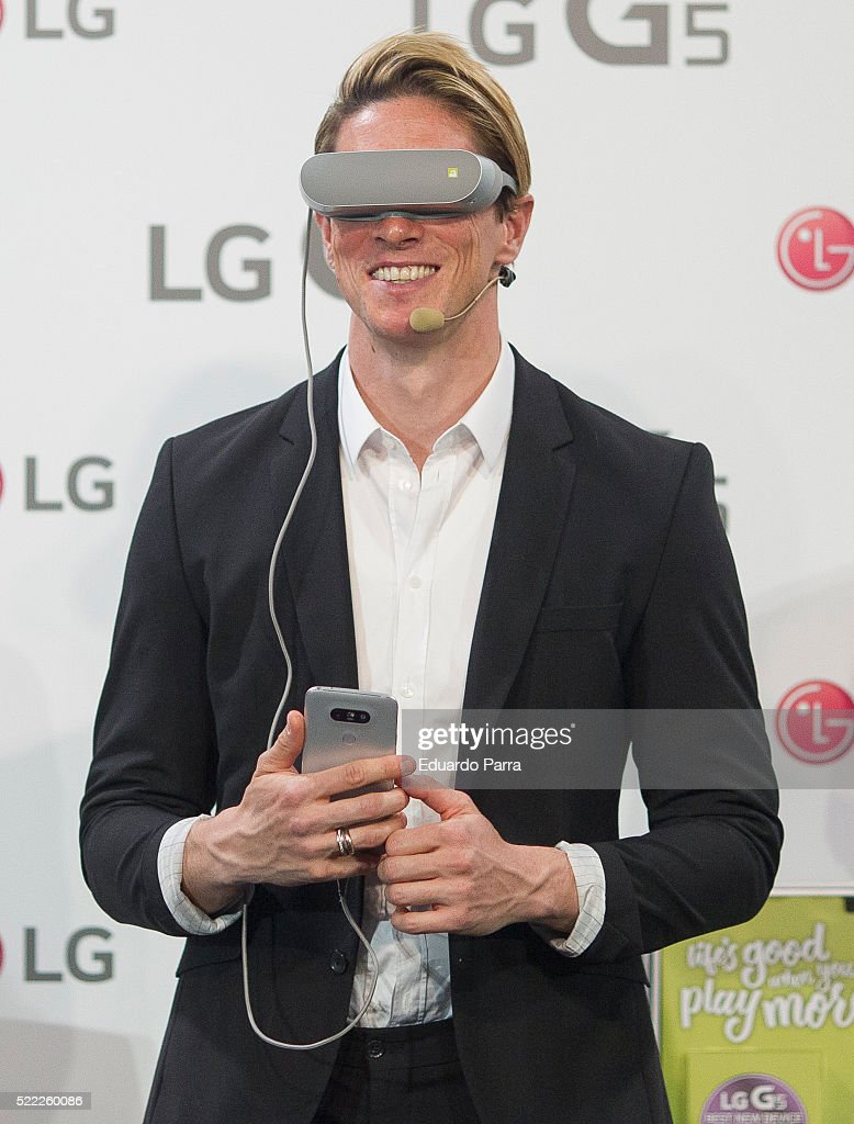 Soccer player Fernando Torres attends Smartphone LG G5 presentation at Espacio Unonueve on April 18, 2016 in Madrid, Spain.