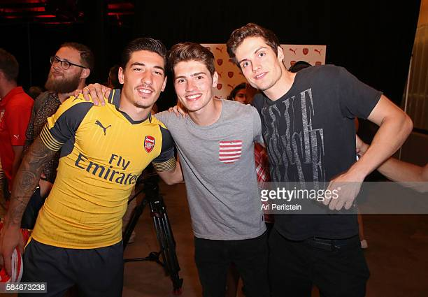 Soccer player Hector Bellerin actors Gregg Sulkin and Daniel Sharman attend PUMA and Arsenal Football Club 2016/17 AFC Away Third Kit reveal event on...